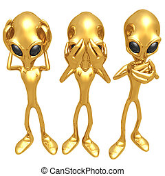 3 Wise Aliens - 3D Concept And Presentation Figure