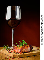 Beef steak and red wine