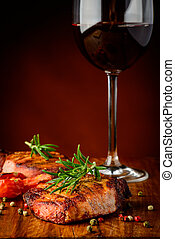 Grilled meat and red wine