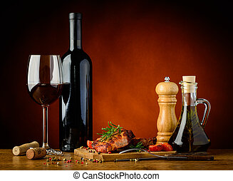 Grilled steak and red wine - still life with homemade...