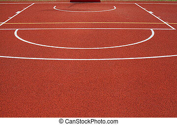 basketball court - detail of red public outdoor basketball...