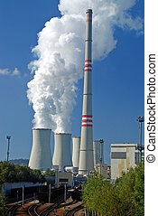 Coal power plant - Power plant with supply coal wagons and...