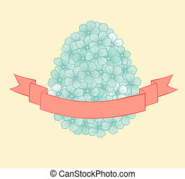 beautiful Easter greeting card with flowers graphics in the form of eggs with ribbon labeling . Hand-drawn contour lines and strokes.