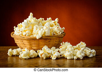 Traditional homemade popcorn - still life with traditional...