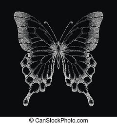 beautiful graphic black and white butterfly. Hand-drawn...