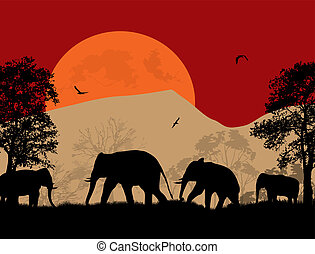 Wild elephants at sunset on beautiful landscape illustration
