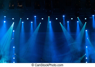 Blue Stage Lights at the Concert - Blue Stage Lights, light...