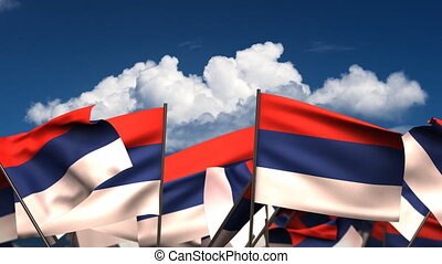 Waving Serbian Flags seamless alpha channel