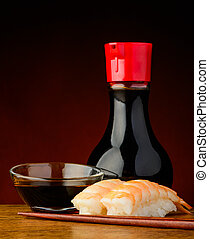 Nigiri sushi with prawns and soy sauce - still life with...