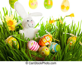 easter eggs and rabbit - Colored easter eggs and rabbit on...
