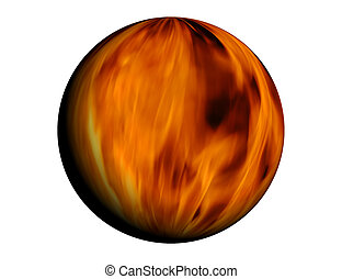 Fire ball - Sphere full of fire - based on real fire photo
