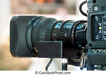 Television studio camera - Video camera lens - recording...