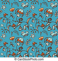 Seamless vector pattern birds and flowers