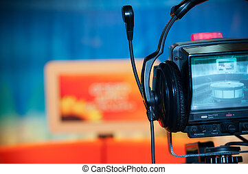 Video camera viewfinder - recording show in TV studio -...