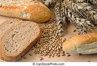 Background with bakery - Various bakery products on wood...