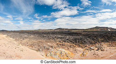 Krafla - Cool Lava flow at Krafla area, Iceland. Panoramic...