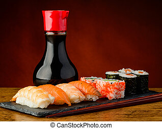 Still life with sushi plate - still life with mixed sushi...