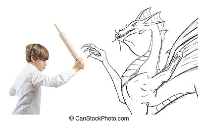Courageous child - Concept of courageous child with drawing...