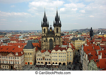 Tyn Cathedral during the Easter - Tyn Cathedral in Prague...