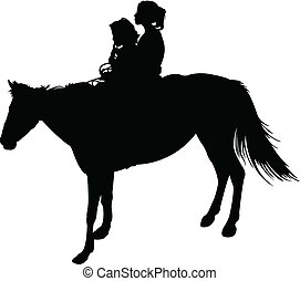 sisters on horse silhouette vector