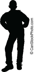 silhouette vector of a teenager