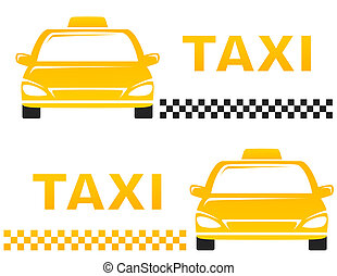 business cards with taxi - two business cards with taxi on...