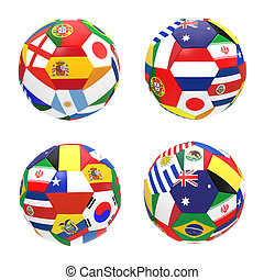 3D render of 4 soccer football representing competition...