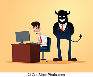 scary supervisor - an office worker get scared when...