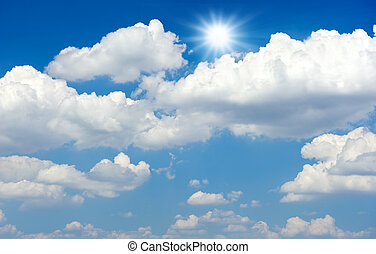 Blue sky with clouds and sun - Blue sky with white clouds...
