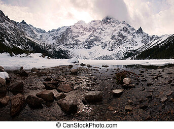 Polish Tatra mountains Morskie Oko lake on susnet