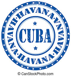 Havana-Cuba-stamp - Grunge rubber stamp with text...