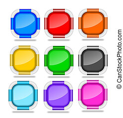 Square Web Buttons with Bevel Rims - Set of blank square web...