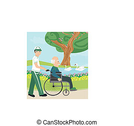 son pushing senior father on wheelchair outdoors for a walk