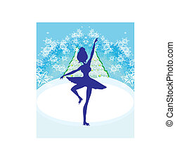 Abstract card with a silhouette of a female figure skater