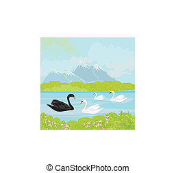 Vector landscape with mountains and swans on the lake