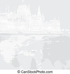 Graphic vector illustration of parliament in Hungary Budapest