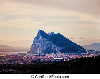 Gibraltar - View to the rock of Gibraltar and La Linea de la...