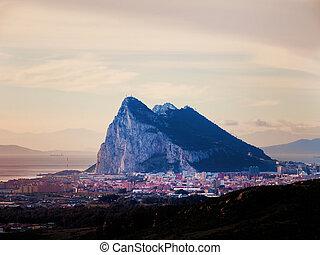 Gibraltar - View to the rock of Gibraltar and La Linea de la...