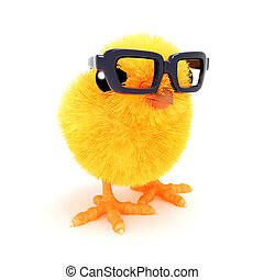 3d Chick in reading glasses - 3d render of an Easter chick...