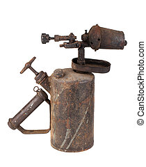 Vintage old blowtorch - Vintage rusty blowtorch isolated on...