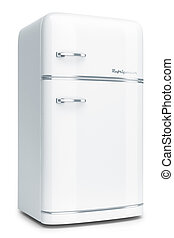 White retro refrigerator - Retro refrigerator isolated on...