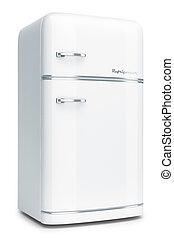 blanc, retro, réfrigérateur