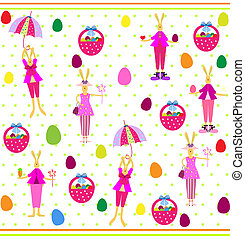 Cute Easter seamless with bunnies and eggs