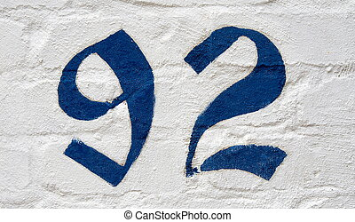 house numbers - street house numbersnumber 92