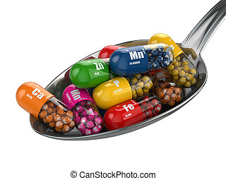 Dietary supplements. Variety pills. Vitamin capsules on the...