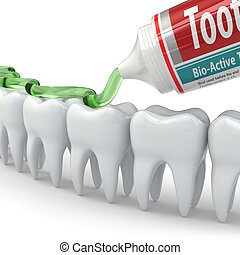 Dental protection, Teeth and toothpaste on white background...