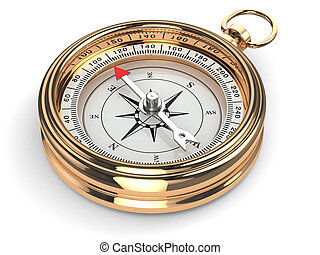 Gold compass on white isolated background 3d