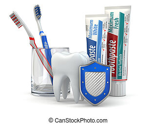 Dental protection, Tooth, shield, toothpaste and...