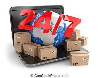World wide delivering. Earth and boxes on laptop. 24/7. 3d