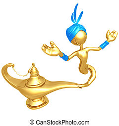Djinn Escaping Magic Lamp - 3D Concept And Presentation...